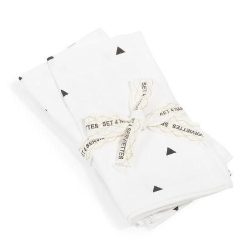 4 Servietten TRIANGLE aus Baumwolle, 40 x 40 cm, weiß