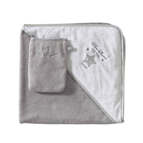 Cape de bain bébé + gant en coton gris/blanc SONGE | Maisons du Monde