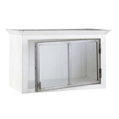 Mobile alto bianco da cucina in legno riciclato con apertura a ...