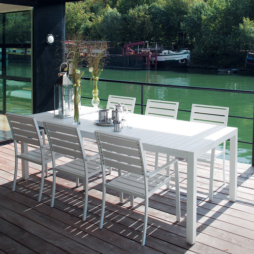 Table de jardin en composite imitation bois et aluminium blanche L 230 cm
