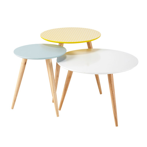 3 tables gigognes rondes vintage