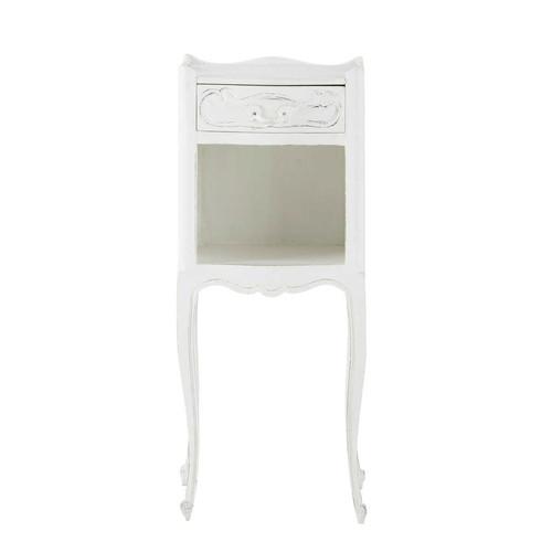 Table de chevet avec tiroir en manguier blanche l 30 cm m dicis maisons du - Chevet tiroir a suspendre ...