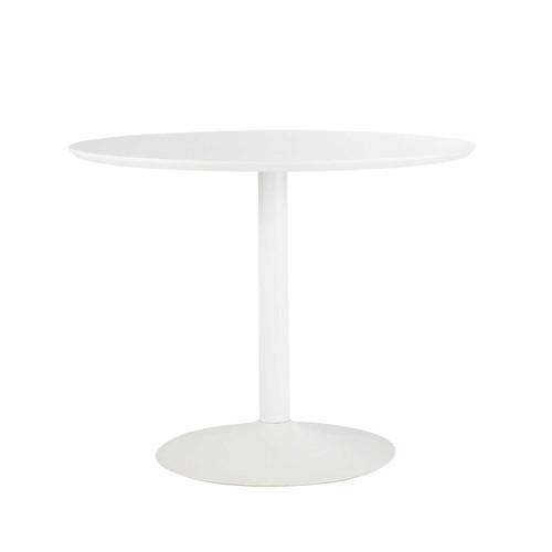 Table ronde de salle manger en bois et m tal blanche d - Petite table ronde blanche ...