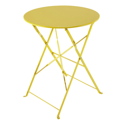 Table pliante de jardin en m tal jaune d 58 cm confetti - Table de jardin pliante maison du monde ...