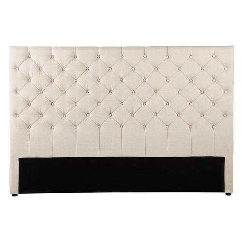 t te de lit capitonn e vintage en lin l 180 cm chesterfield maisons du monde. Black Bedroom Furniture Sets. Home Design Ideas
