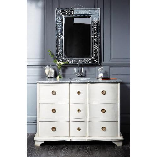 Meuble vasque en bois et marbre gris clair l 117 cm - Meuble salle de bain gris clair ...