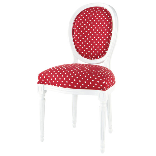 Chaise rouge pois blancs louis maisons du monde for Chaise louis maison du monde