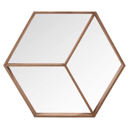miroir hexagonal en bois h 50 cm hans. Black Bedroom Furniture Sets. Home Design Ideas