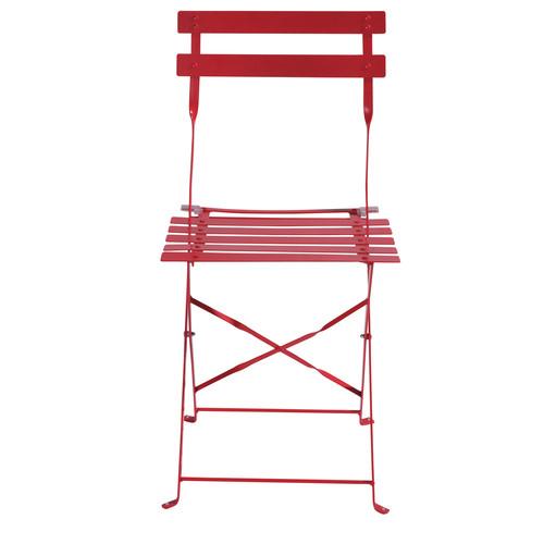Lot de 2 chaises de jardin pliantes rouges guinguette - Chaises jardin pliantes ...