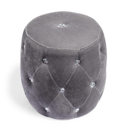 Pouf en tissu gris strass for Miroir 80x160