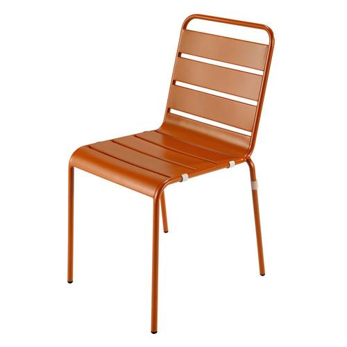 Chaise de jardin en m tal orange batignolles maisons du - Chaise jardin coloree ...