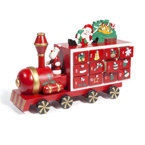 calendrier de l 39 avent en bois rouge 18 x 28 cm train. Black Bedroom Furniture Sets. Home Design Ideas