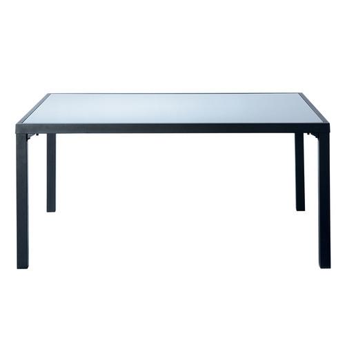 table de jardin en verre tremp et aluminium grise l 160 cm alicante maisons du monde. Black Bedroom Furniture Sets. Home Design Ideas