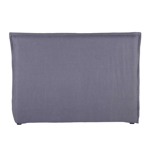 housse de t te de lit 160 en lin lav bleu orage morph e. Black Bedroom Furniture Sets. Home Design Ideas