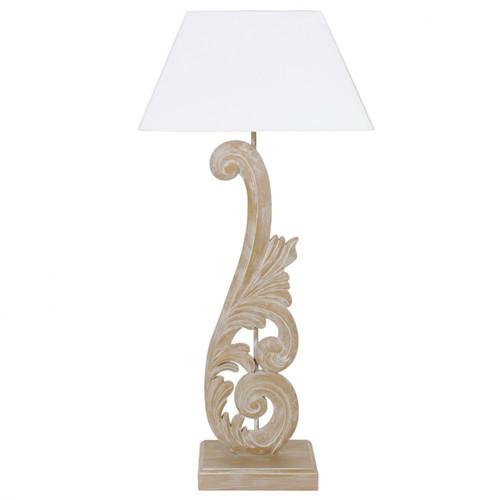 Lampe en bois et abat jour en tissu h 73 cm arabesque maisons du monde - Lampadaire bois maison du monde ...