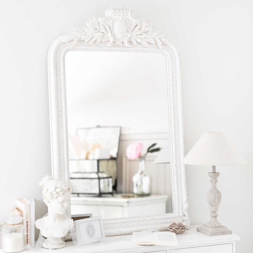 miroir en bois blanc h 125 cm nora maisons du monde. Black Bedroom Furniture Sets. Home Design Ideas