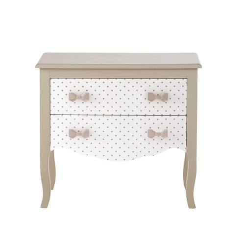 commode enfant en bois blanche taupe l 80 cm coquette maisons du monde. Black Bedroom Furniture Sets. Home Design Ideas