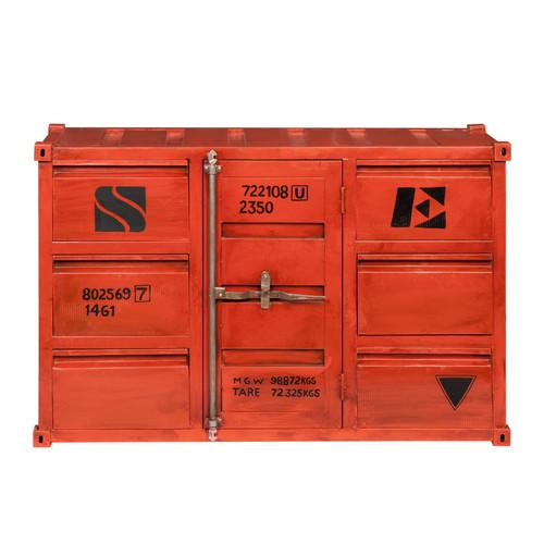 Buffet container en métal rouge L 134 cm Carlingue  Maisons du Monde -> Meuble Container