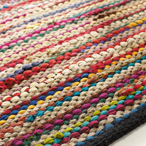 Tapis tress en coton multicolore 140 x 200 cm roulotte maisons du monde - Tapis rayures multicolores ...