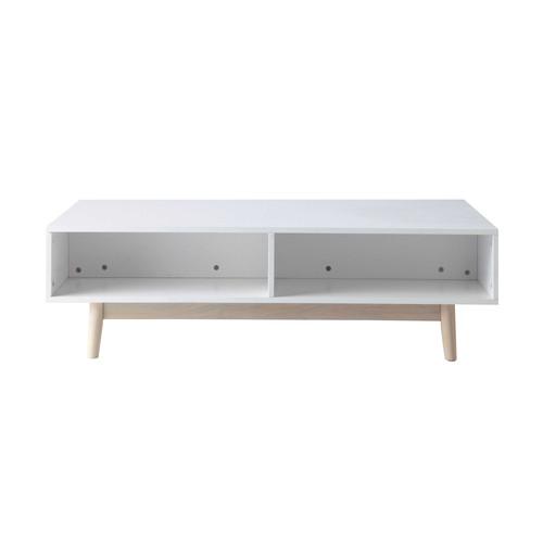 Table basse avec coffre en bois blanche L 120 cm Artic  Maisons du Monde -> Table Basse But Coussins Integres