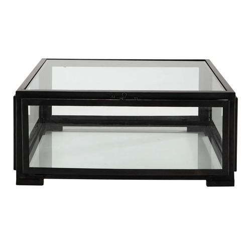 Table basse carr e en verre et m tal noire l 80 cm for Table basse noire carree
