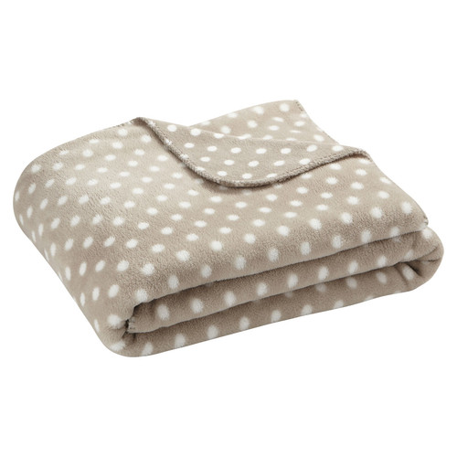 Plaid pois beige maisons du monde for Plaid maison du monde