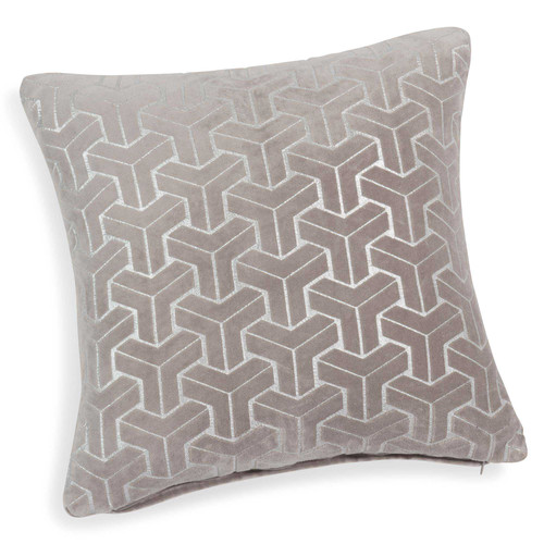 housse de coussin en velours beige argent 40 x 40 cm hexon maisons du monde. Black Bedroom Furniture Sets. Home Design Ideas