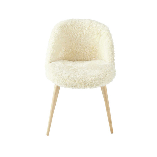 chaise vintage fausse fourrure et bouleau massif ivoire mauricette maisons du monde. Black Bedroom Furniture Sets. Home Design Ideas
