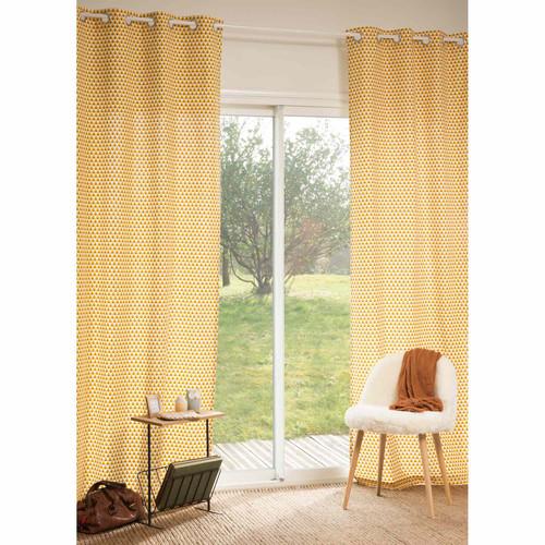 rideau en coton jaune 110 x 250 cm hilton maisons du monde. Black Bedroom Furniture Sets. Home Design Ideas