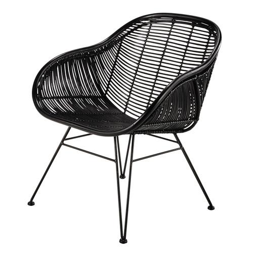 fauteuil en rotin noir pitaya maisons du monde. Black Bedroom Furniture Sets. Home Design Ideas