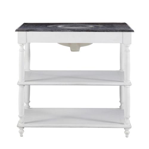 Meuble vasque en bois massif et pierre blanc l 90 cm for Canape ostende but