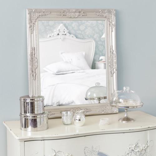 Miroir argent h 74 cm enzo maisons du monde for Miroir gris argent
