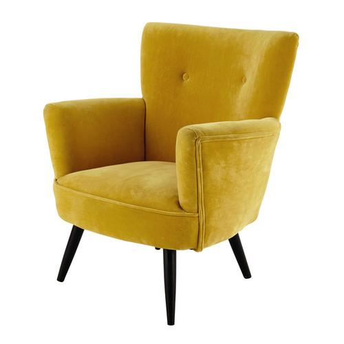 Velvet Armchair In Yellow Sao Paulo Maisons Du Monde