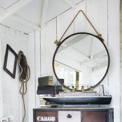 spiegel cabine aus metall mit rosteffekt h 70 cm. Black Bedroom Furniture Sets. Home Design Ideas