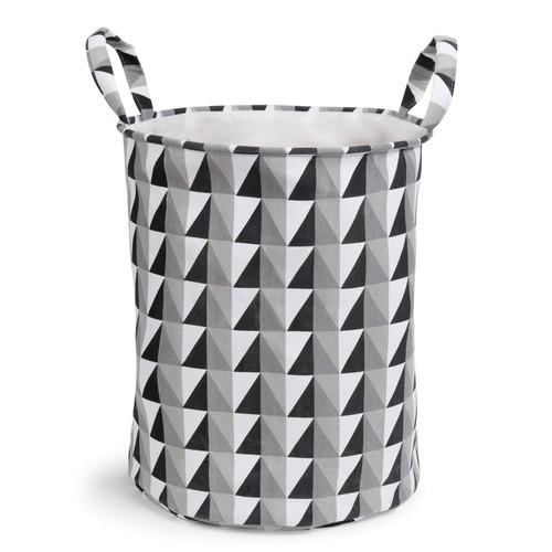 panier linge en tissu noir blanc graphique maisons du monde. Black Bedroom Furniture Sets. Home Design Ideas