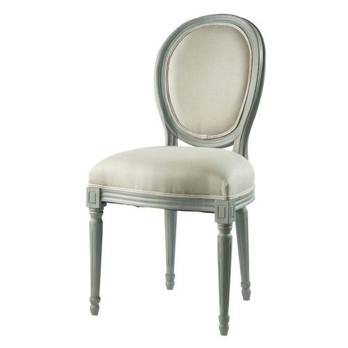 Chaise m daillon en lin et h v a louis maisons du monde - Chaise de bar maison du monde ...