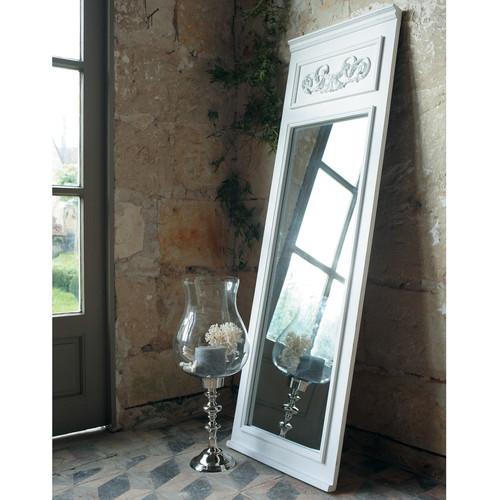 Miroir trumeau en bois blanc h 170 cm c lestine for Miroir trumeau blanc