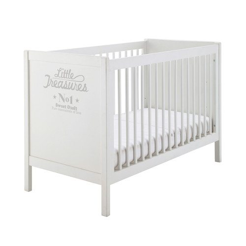 lit b b barreaux en bois blanc l 126 cm songe maisons. Black Bedroom Furniture Sets. Home Design Ideas