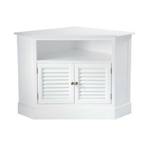 meuble tv d 39 angle en bois blanc l 75 cm barbade maisons du monde. Black Bedroom Furniture Sets. Home Design Ideas
