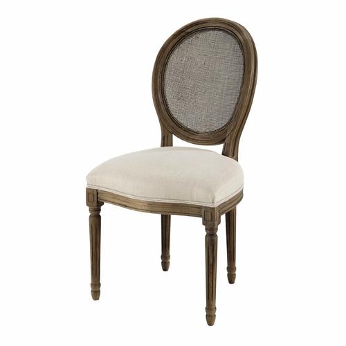 chaise m daillon cann e en lin et ch ne massif gris louis maisons du monde. Black Bedroom Furniture Sets. Home Design Ideas