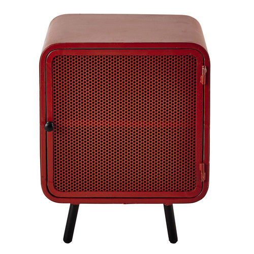 Metal bedside table in red w 44cm knokke maisons du monde - Maison du monde table de chevet ...