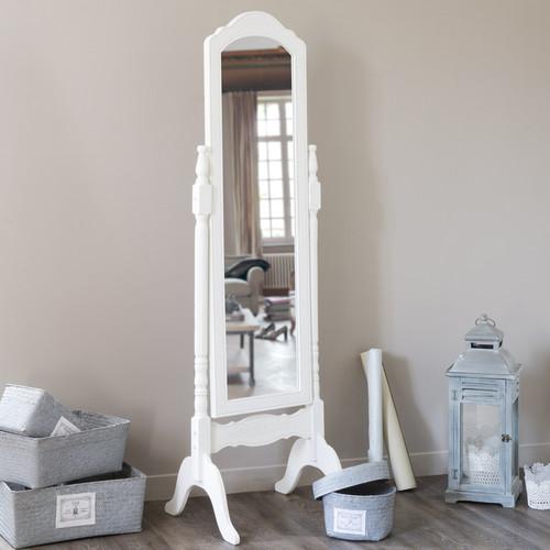 Miroir Plein Pied En Bois : Miroir psych? en bois de paulownia blanc H 169 cm C?LESTE Maisons