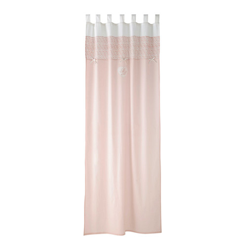 cortina de presillas de algod n rosa 110 250 cm victorine maisons du monde. Black Bedroom Furniture Sets. Home Design Ideas