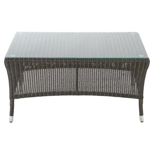 Petite Table De Jardin Alinea : Table basse de jardin en verre trempé et composite imitation bois L