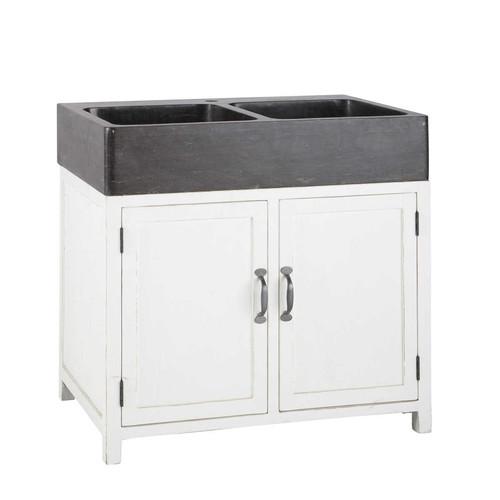 Meuble bas de cuisine avec vier en bois recycl blanc l for Evier de cuisine avec meuble