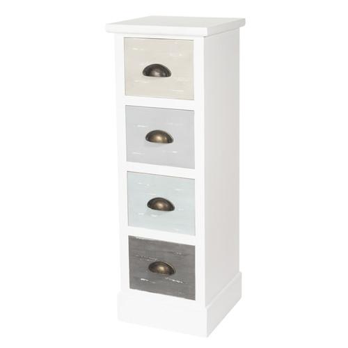 colonne de rangement en bois blanche h 86 cm simiane maisons du monde. Black Bedroom Furniture Sets. Home Design Ideas
