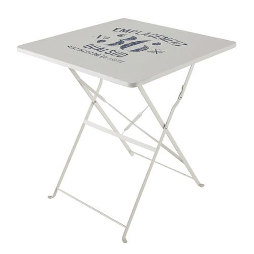 Table Pliante De Jardin En M Tal Blanche L 70 Cm Guinguette Maisons Du Monde