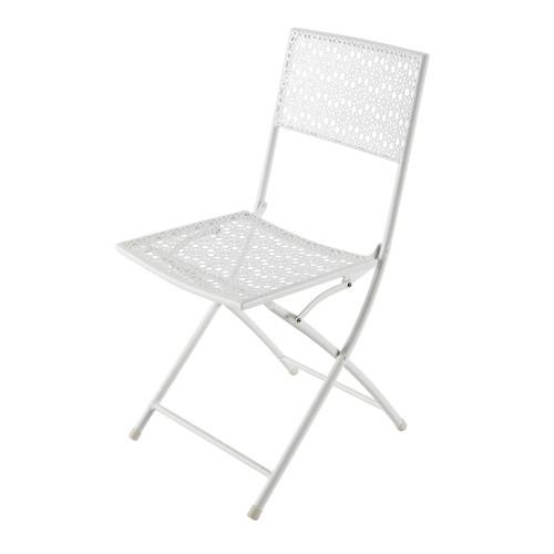 Chaise de jardin pliante en m tal ajour blanche suzon for Chaise de jardin metal pliante