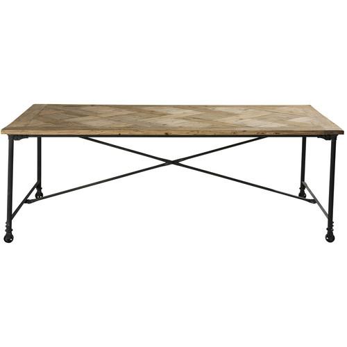 Table de salle manger en bois et m tal l 220 cm - Table salle a manger bois et metal ...