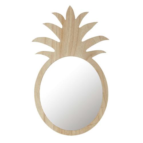 Miroir ananas en bois naturel h 65 cm alix maisons du monde - Miroir salle de bain maison du monde ...